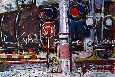 Train Crossing Painting - Railjag by Charlie Spear