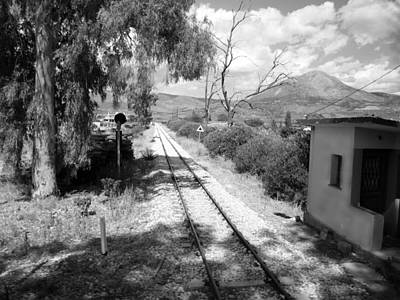 Railroad Crossing In Black And White On The Way From Mycenae To Olympia In Greece Art Print