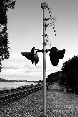 Railroad Crossing Light . Black And White Art Print by Wingsdomain Art and Photography