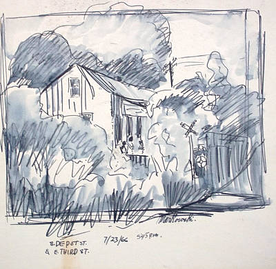 Old Shed Drawing - Railroad House by Bill Joseph  Markowski
