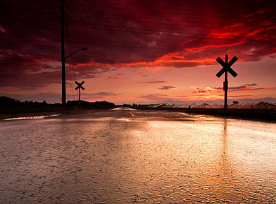 Railroad Sunset Print by Cale Best