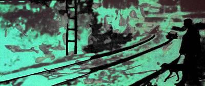 Railway - Schattenbild Siebdrucktechnik Original