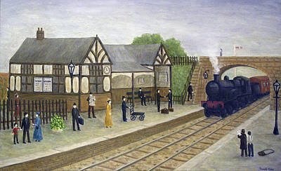 Victorian Painting - Railway Station - 1905 by Ronald Haber