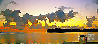 Art Print featuring the photograph Rain Clouds At Sunset by Joan McArthur