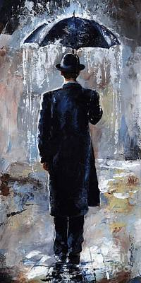 Umbrella Painting - Rain Day - Bowler Hat by Emerico Imre Toth
