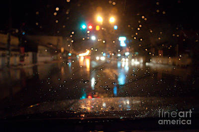 Night Photograph - Rain Drop At Front Car Mirror by Ngarare