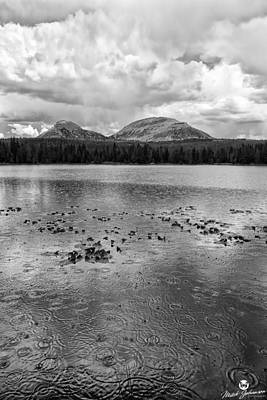 Western Art - Rain Drops on the Lake BW by Mitch Johanson