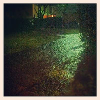 Pathway Photograph - Rain Flooding The Sidewalk At Night by James Roberts