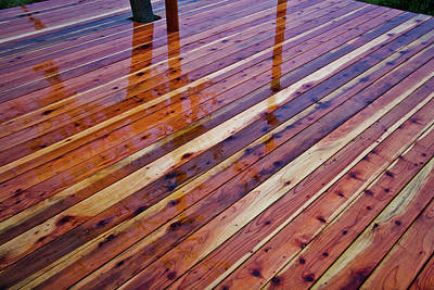 Photograph - Rain On Redwood Deck by Peter Dyke