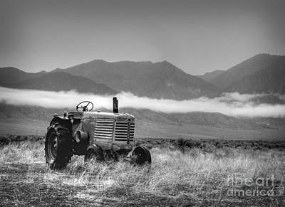 Western Art Photograph - Rain Soaked Oliver Tractor by Megan Chambers