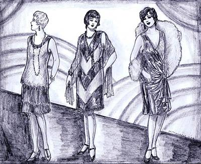 Evening Gown Drawing - Rainbow 1920s Fashions by Mel Thompson