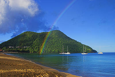 Photograph - Rainbow And Boats- St Lucia by Chester Williams