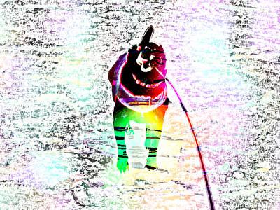 Rainbow Anxious Black Lab Art Print