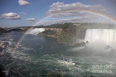 International Border Photograph - Rainbow At Niagara Falls by Ted Kinsman