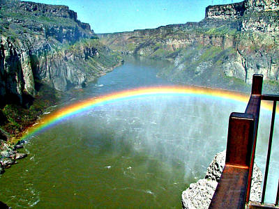 Rainbow At Shoshone Falls Id Art Print