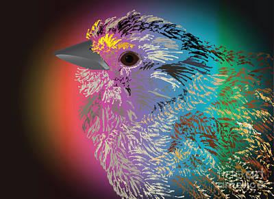 Digital Art - Rainbow Bird by Michelle Bergersen