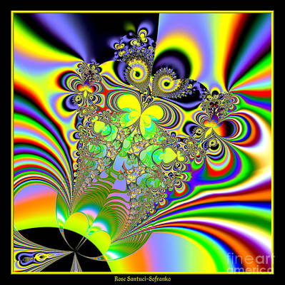 Rainbow Butterfly Bouquet Fractal 56 Print by Rose Santuci-Sofranko