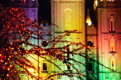 Slc Temple Photograph - Rainbow Christmas by La Rae  Roberts