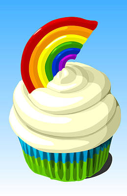Rainbow Cupcake Art Print