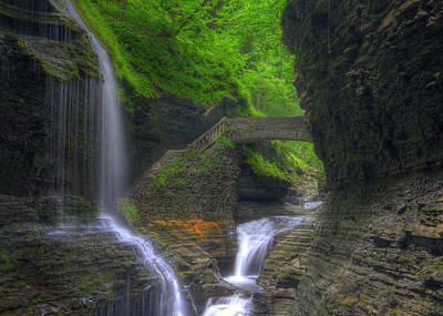 Watkins Glen New York Photograph - Rainbow Falls by Sharon Batdorf