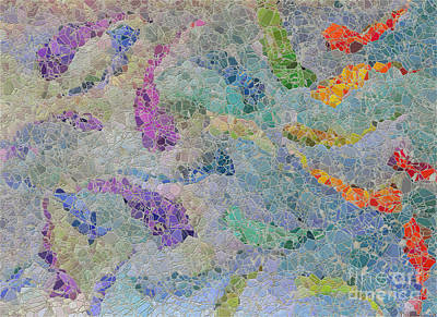 Rainbow Fish Mosaic Tile Abstract Art Print by Debbie Portwood