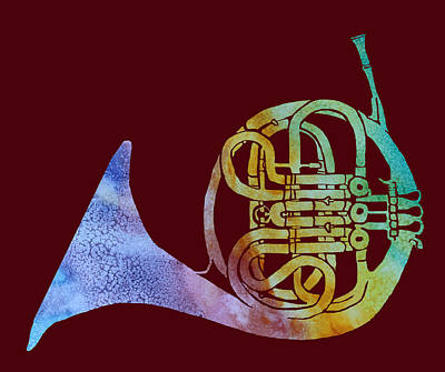 French Horn Digital Art - Rainbow Frenchhorn  by Jenny Armitage