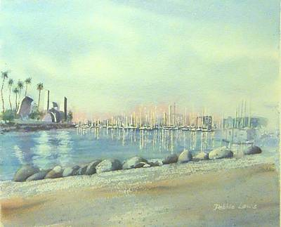 Painting - Rainbow Harbor And The Oil Island by Debbie Lewis