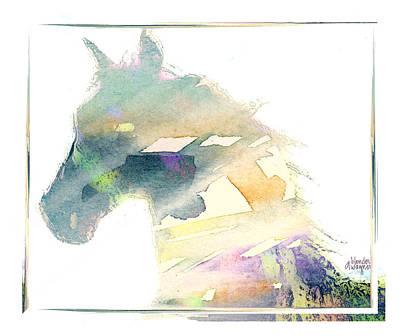 Equine Digital Art - Rainbow Horse by Arline Wagner