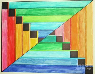 Rainbow In Line Art Print
