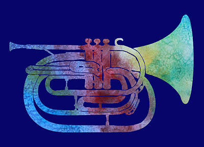 Rainbow Marching French Horn Art Print by Jenny Armitage
