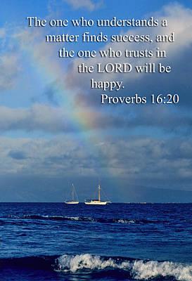 Rainbow Over Deep Blue Sea Pro. 16v20 Art Print by Linda Phelps