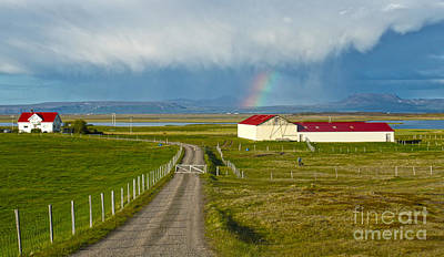 Photograph - Rainbow Over Iceland Farm by Gregory Dyer