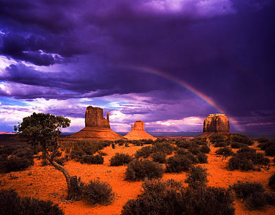 Rainbow Over Monument Valley Print by Daniel Chui