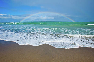 Rainbow Over Ocean Art Print by John White Photos