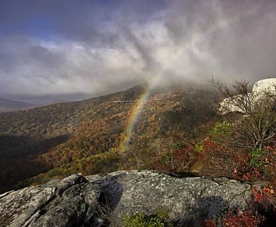 Rainbow Over Rough Ridge - Nc Autumn Scene Print by Rob Travis