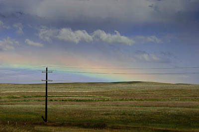 Telephone Poles Photograph - Rainbow Over The Prairie by Randall Nyhof