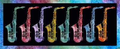 Marching Band Digital Art - Rainbow Saxophones  by Jenny Armitage