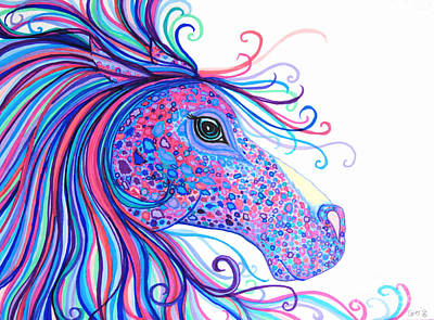 Animals Drawings - Rainbow Spotted Horse by Nick Gustafson