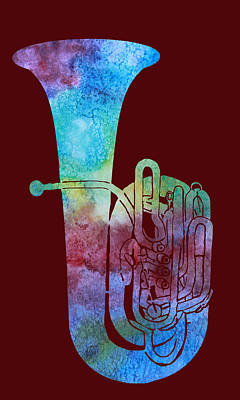 Marching Band Digital Art - Rainbow Tuba by Jenny Armitage