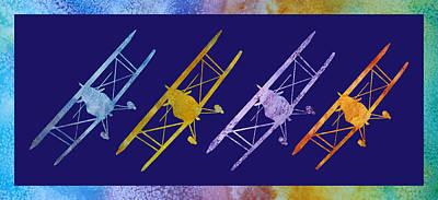 Bi Plane Digital Art - Rainbow Wing by Jenny Armitage