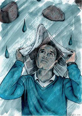 Depression Mixed Media - Raining Stones by Andrea Plotts