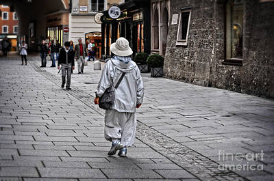 Stone Buildings Digital Art - Rainwear In Salzburg by Mary Machare