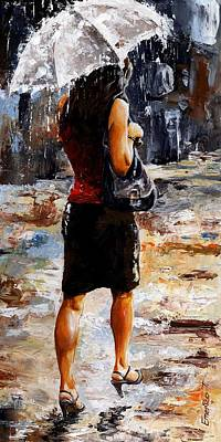 Rainy Day - Woman Of New York 04 Art Print by Emerico Imre Toth