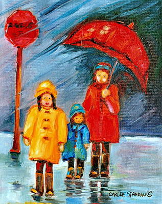 Montreal Street Life Painting - Rainy Day Paintings Montreal City Scenes by Carole Spandau