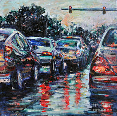 Painting - Rainy Morning Commute by Li Newton