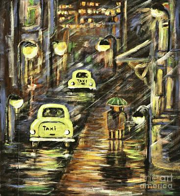 Painting - Rainy Night Downtown by Pati Pelz