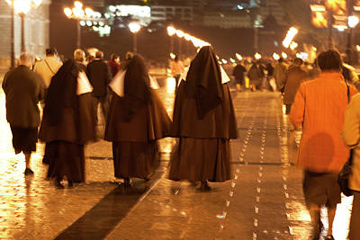 Photograph - Rainy Night Nuns by Lorraine Devon Wilke