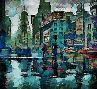 Nyc Digital Art - Rainy Nyc by Yury Malkov
