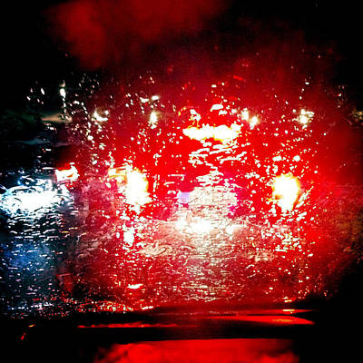 Photograph - Rainy Window - Red Abstract by Matthias Hauser