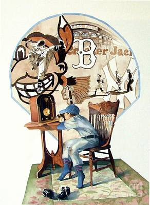 Baseball Painting - Raised On The Radio 3 by Greg and Linda Halom